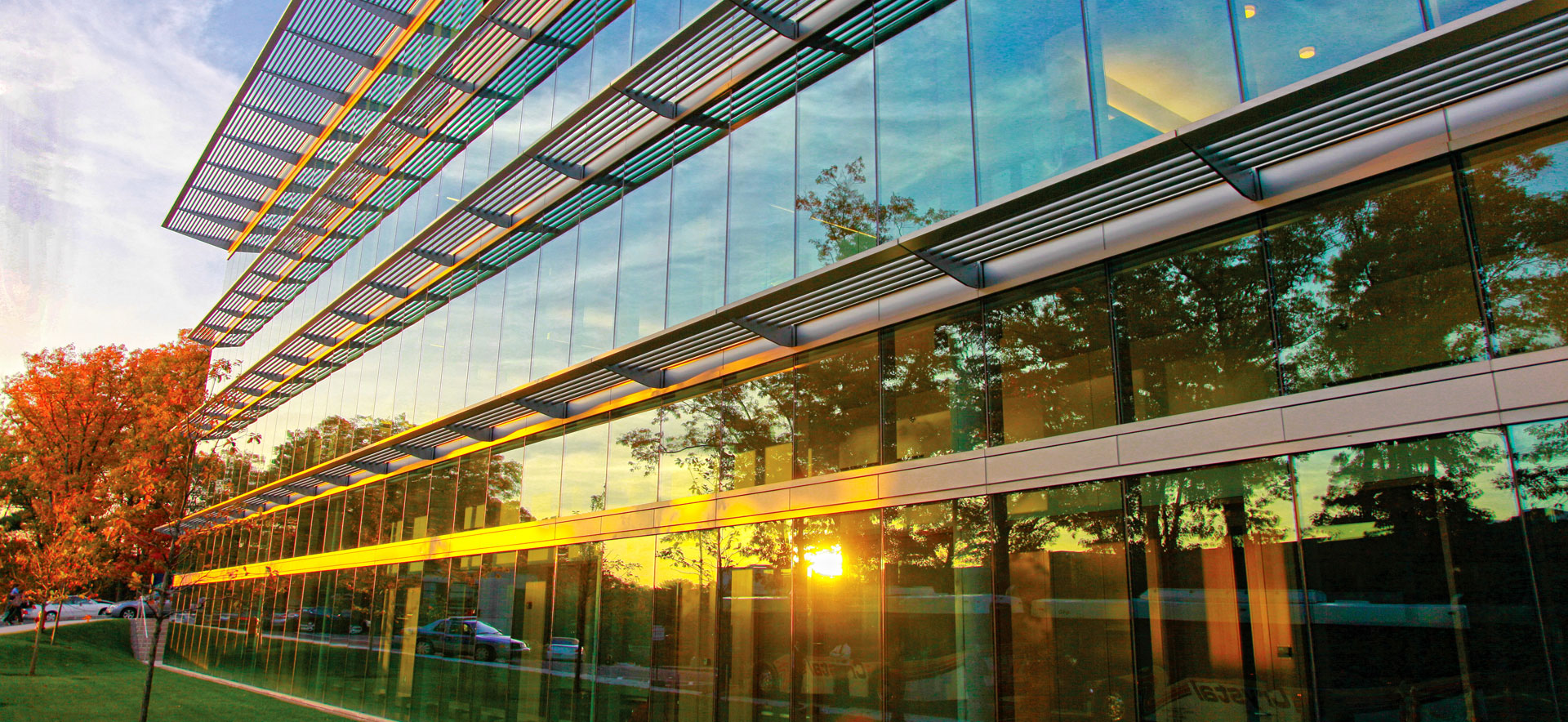 Sunset on the Mandel Center for the Humanities