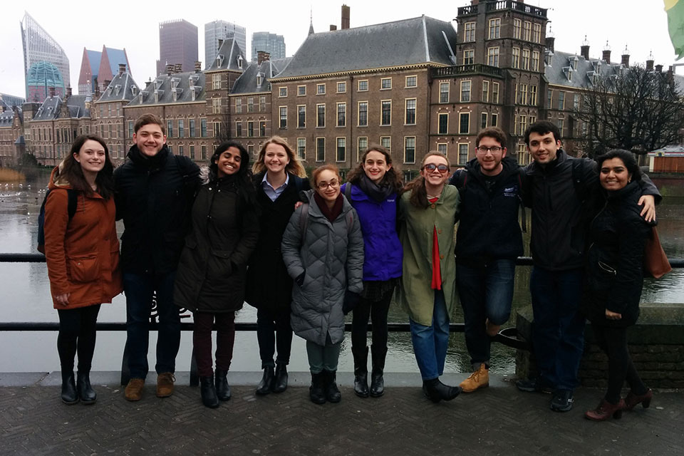 Students in front of the Binnenhof,