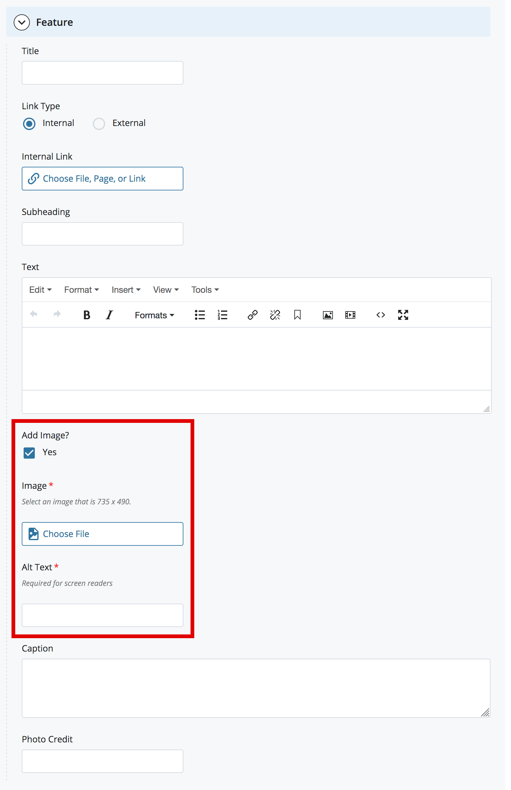 alt text field for feature images in cms