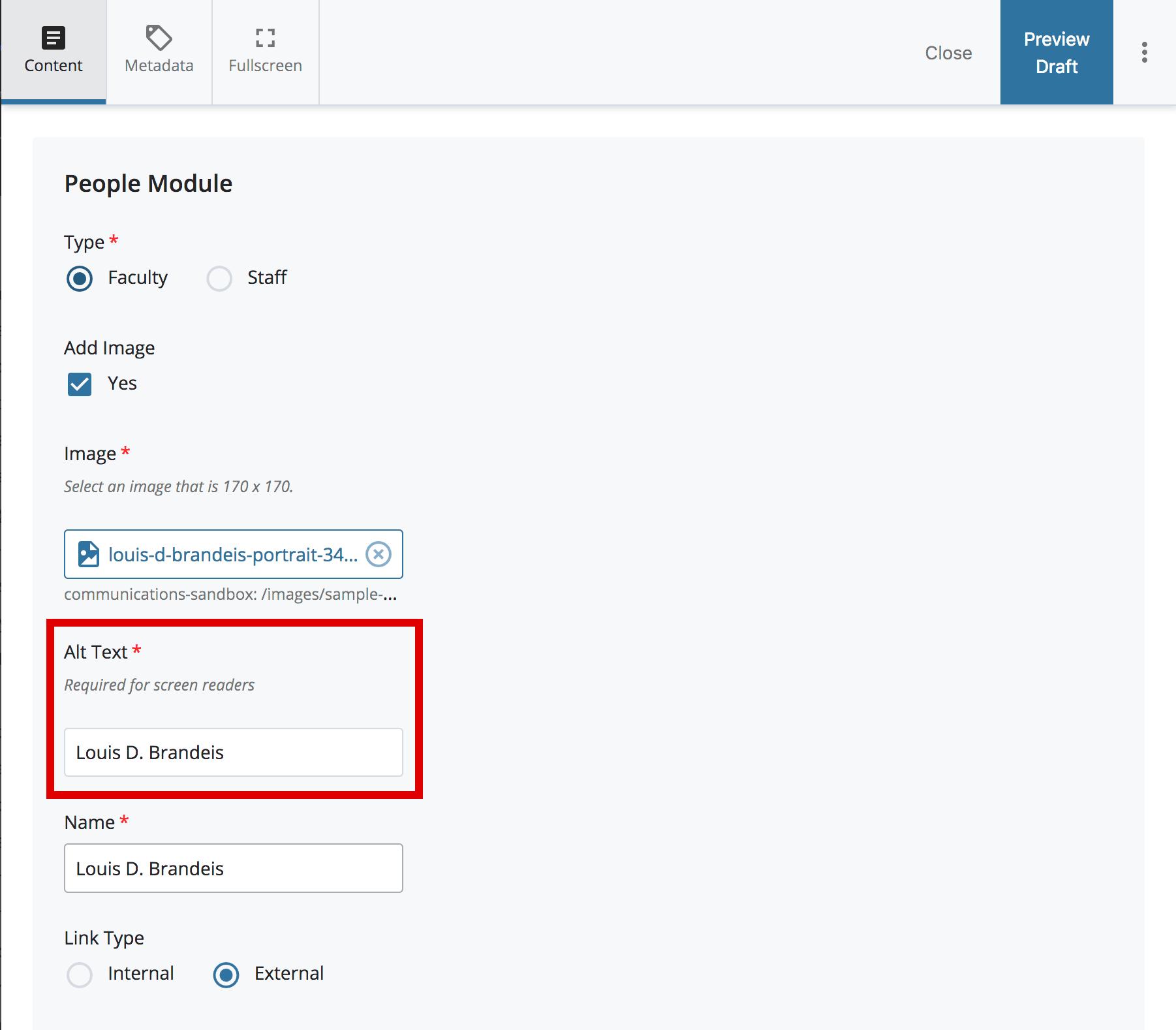 alt text field in people block