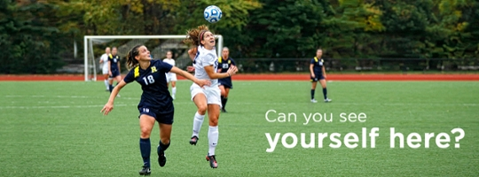 A dynamic play at a women's soccer game, text: can you see yourself here?