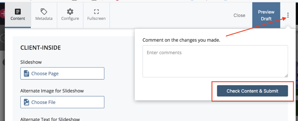 Arrow pointing to three dots; red outline around Check Content & Submit button