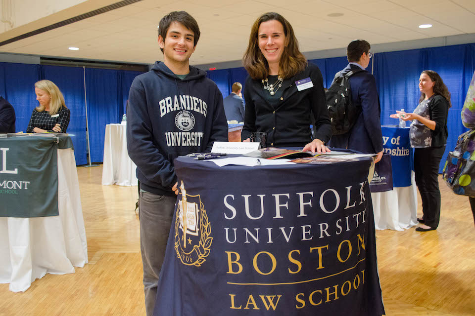 Brandeis student networking with Suffolk Law School Representative