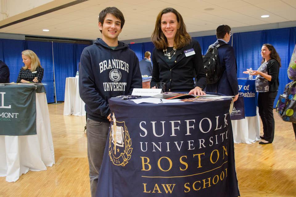 Brandeis student networking with Suffolk Law School Representative