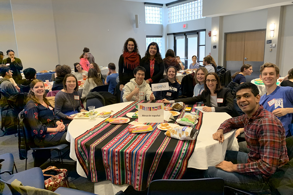 image of Hispanic Studies faculty and Spanish-speakers at the Mega Language Lunch