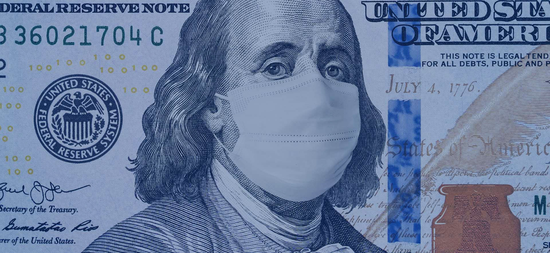 An image of a $100 bill with Ben Franklin wearing a medical mask