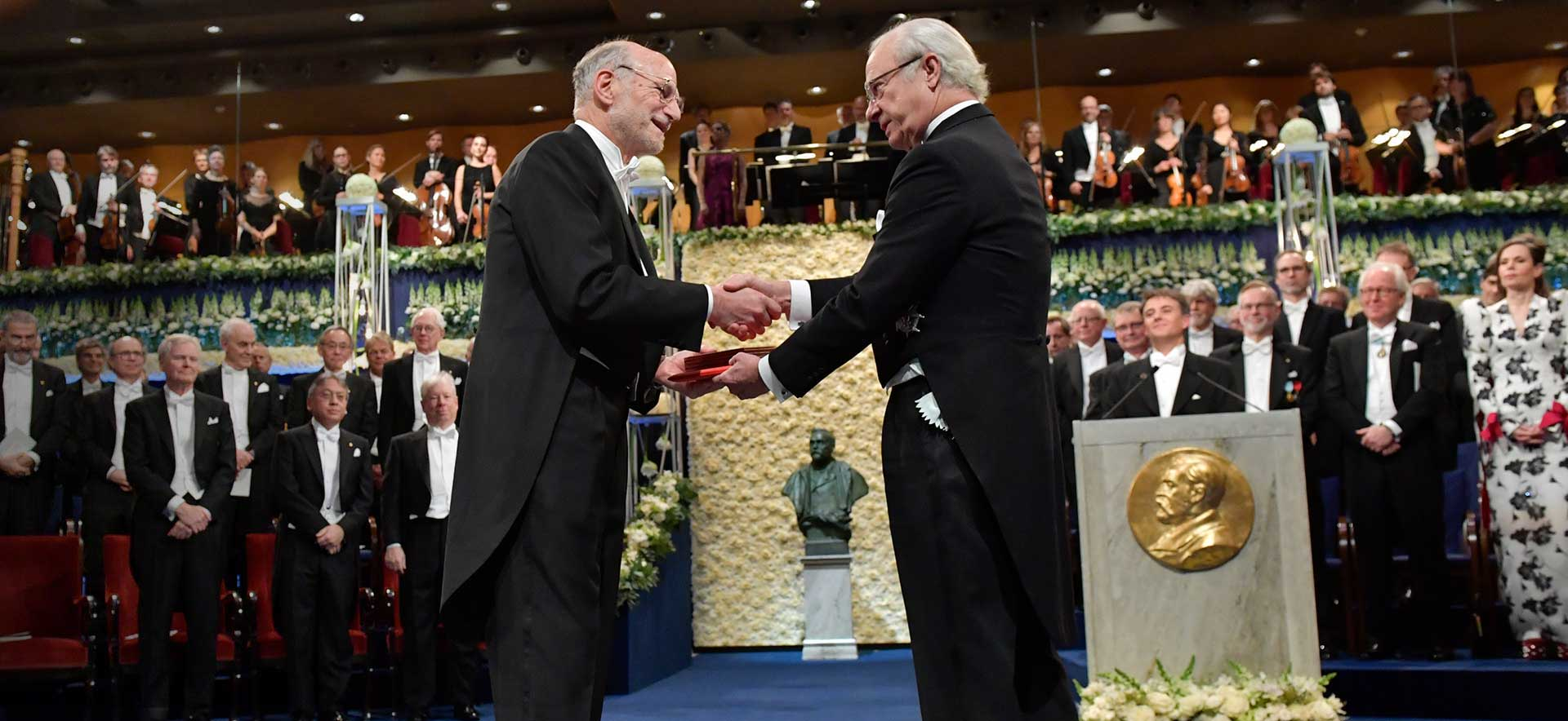 Michael Rosbash receiving the Nobel Prize in 2017