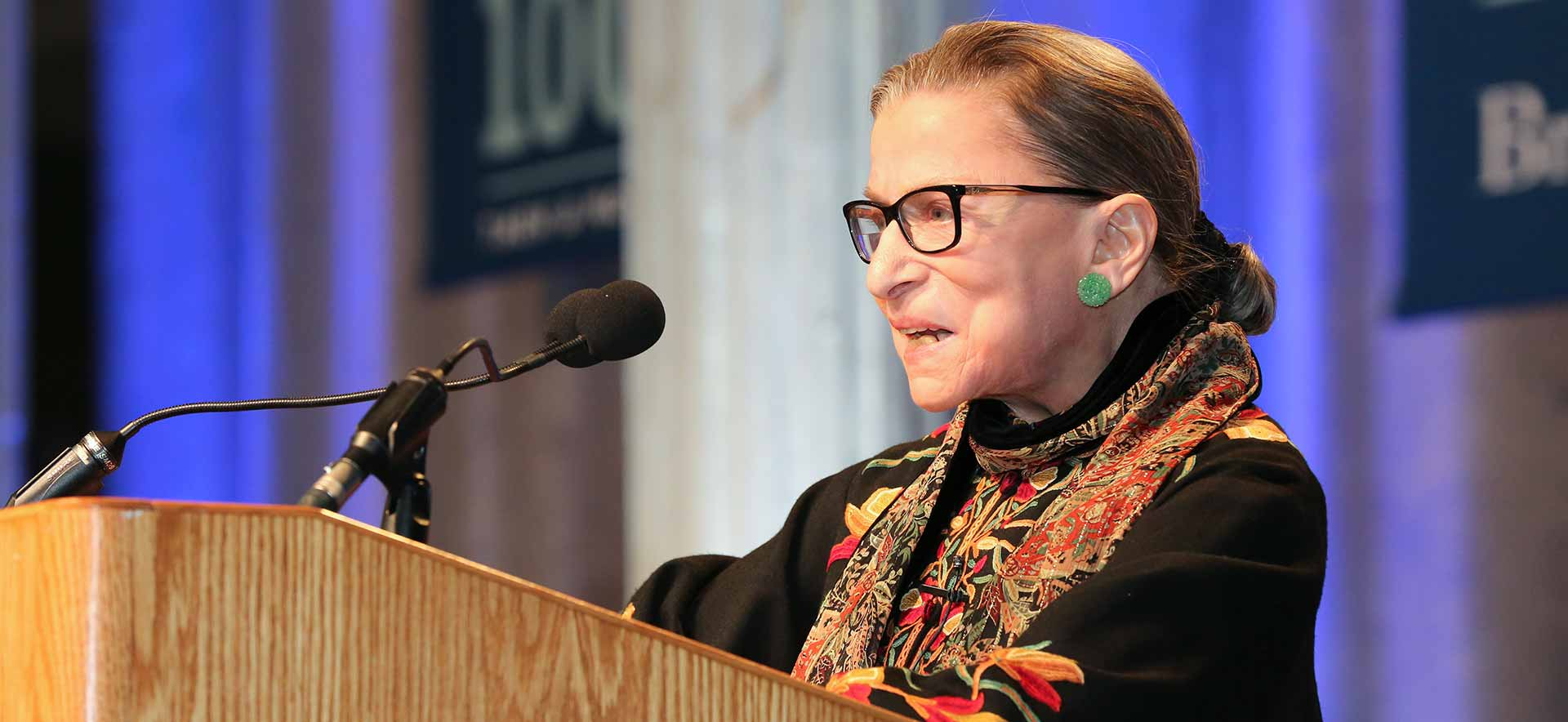 Supreme Court Justice Ruth Bader Ginsburg at a podium during her recent visit to campus