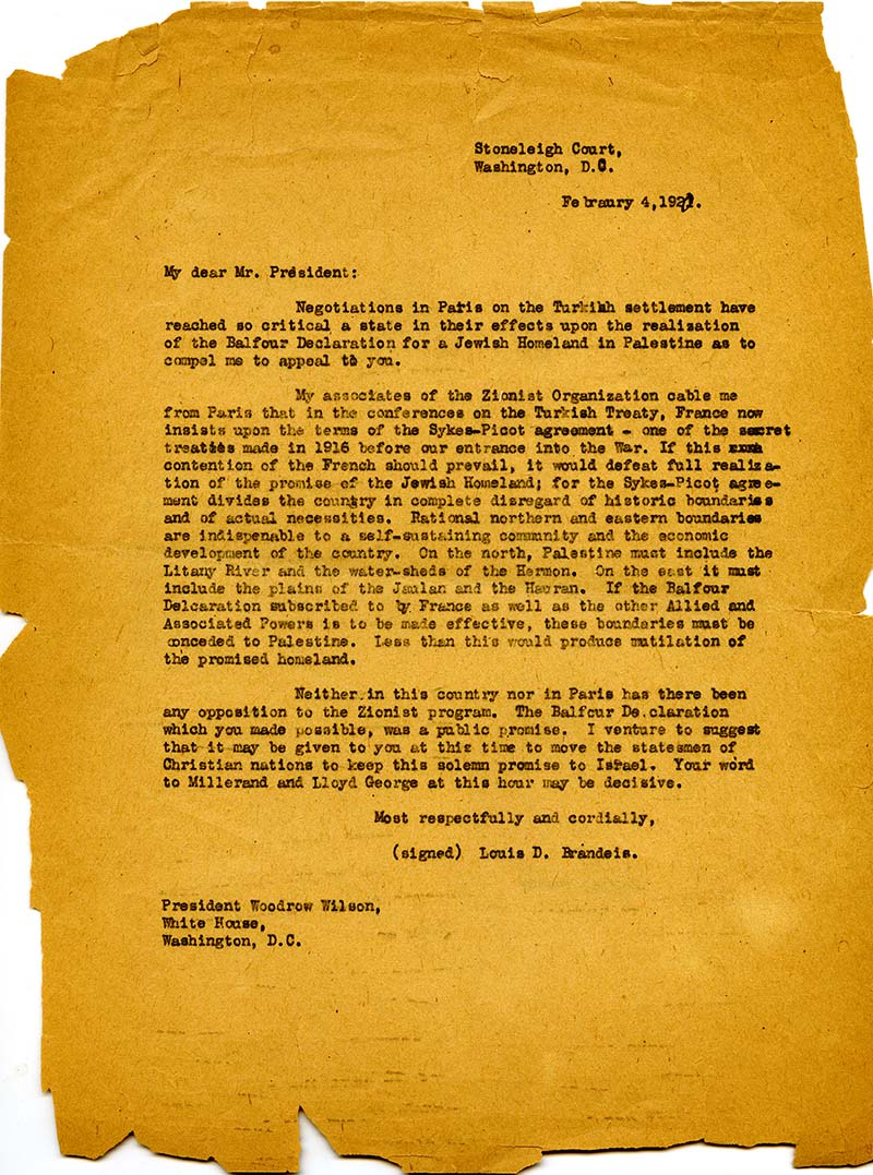 Letter from Louis Brandeis appealing to President Woodrow Wilson on behalf of the Jewish Homeland. Typed February 4, 1920