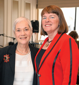 Friedberg with Lisa M. Lynch, former interim president of Brandeis, at the BNC Scholarship Luncheon