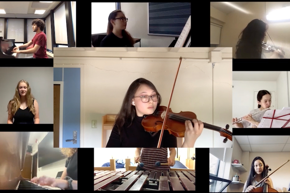A thumbnail image from the video, featuring a grid of individual chamber musicians.