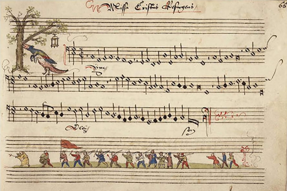 A thumbnail image from the video, featuring an early music transcript
