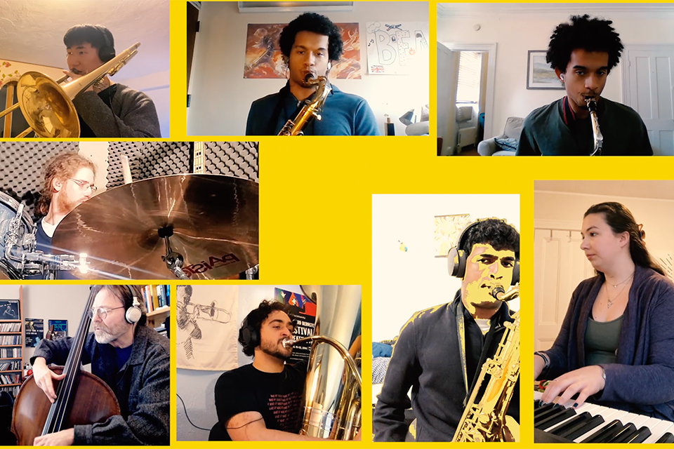 A thumbnail image from the jazz ensemble video featuring individual musicians against a yellow background