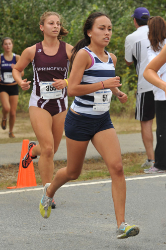 Amelia Lundkvist '14 running at the University of Massachusetts Dartmouth meet