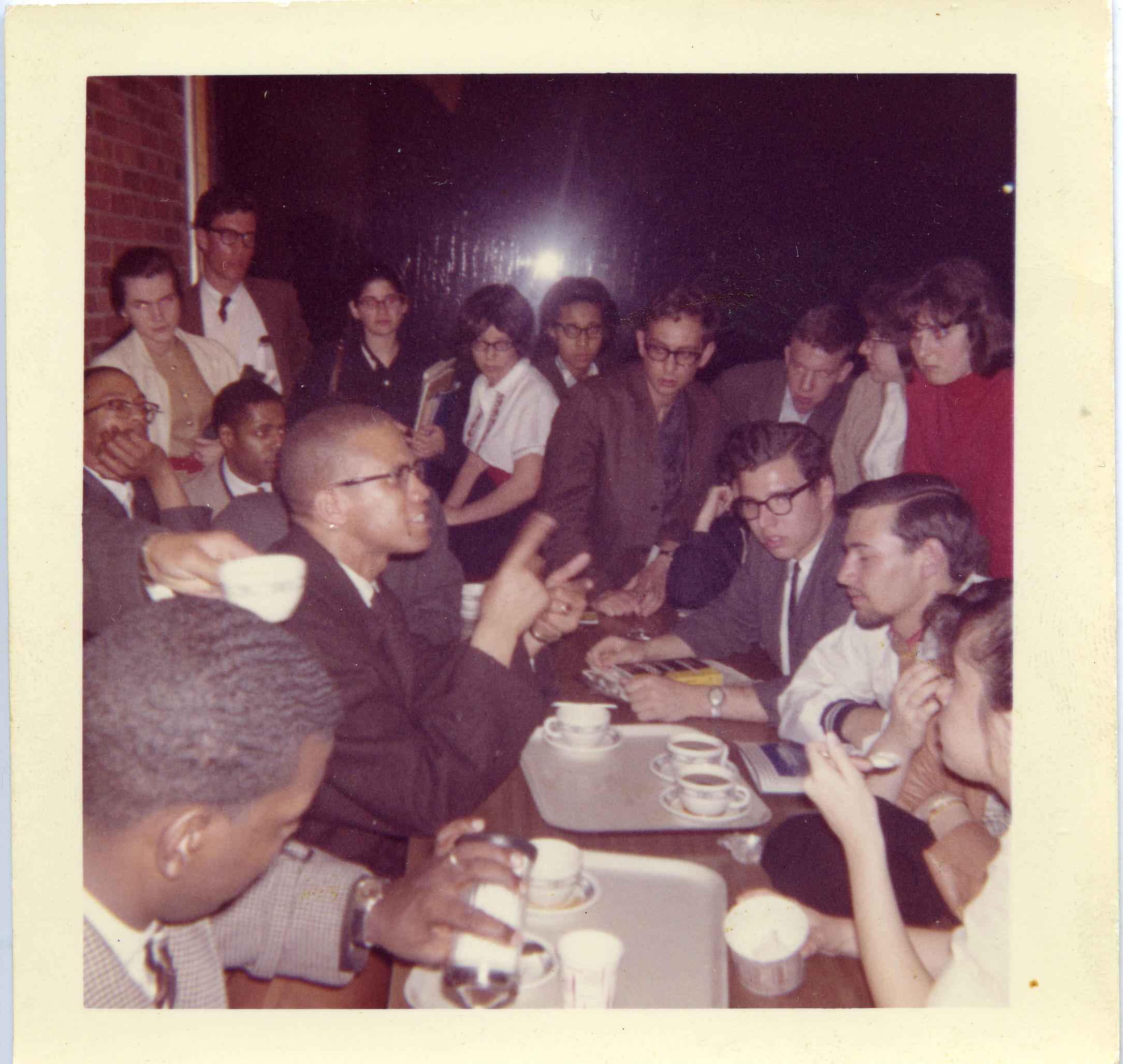 Malcolm X with Brandeis students.