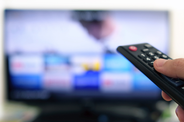 A remote pointed at a TV
