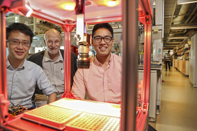 From left, Fang Guo, a postdoctoral fellow in the Rosbash lab and co-inventor of the FlyBox, Professor Michael Rosbash and Jae Jung '15, whose project was funded among the other SPROUT award winners.
