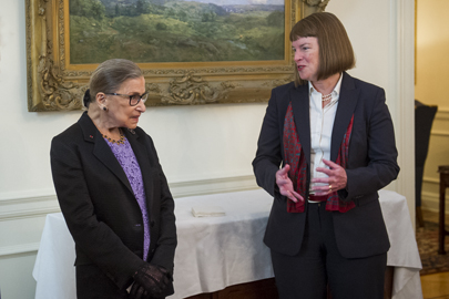 Associate Justice Ruth Bader Ginsberg talks with Interim President Lisa Lynch.