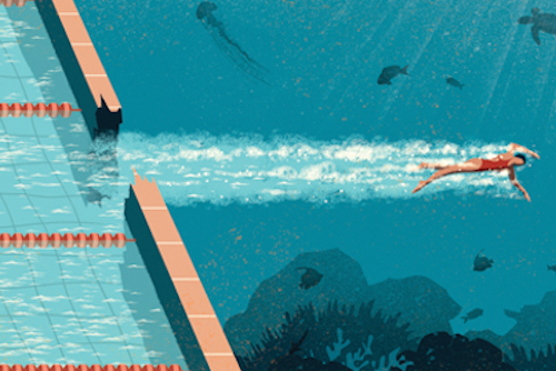 Illustration of a swimmer breaking past the pool into the ocean.