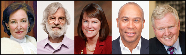 From left: Rosalie Silberman Abella, Leslie Lamport, MA'63, PhD'72, Lisa Lynch, P'17, Deval Patrick, Barry Shrage.