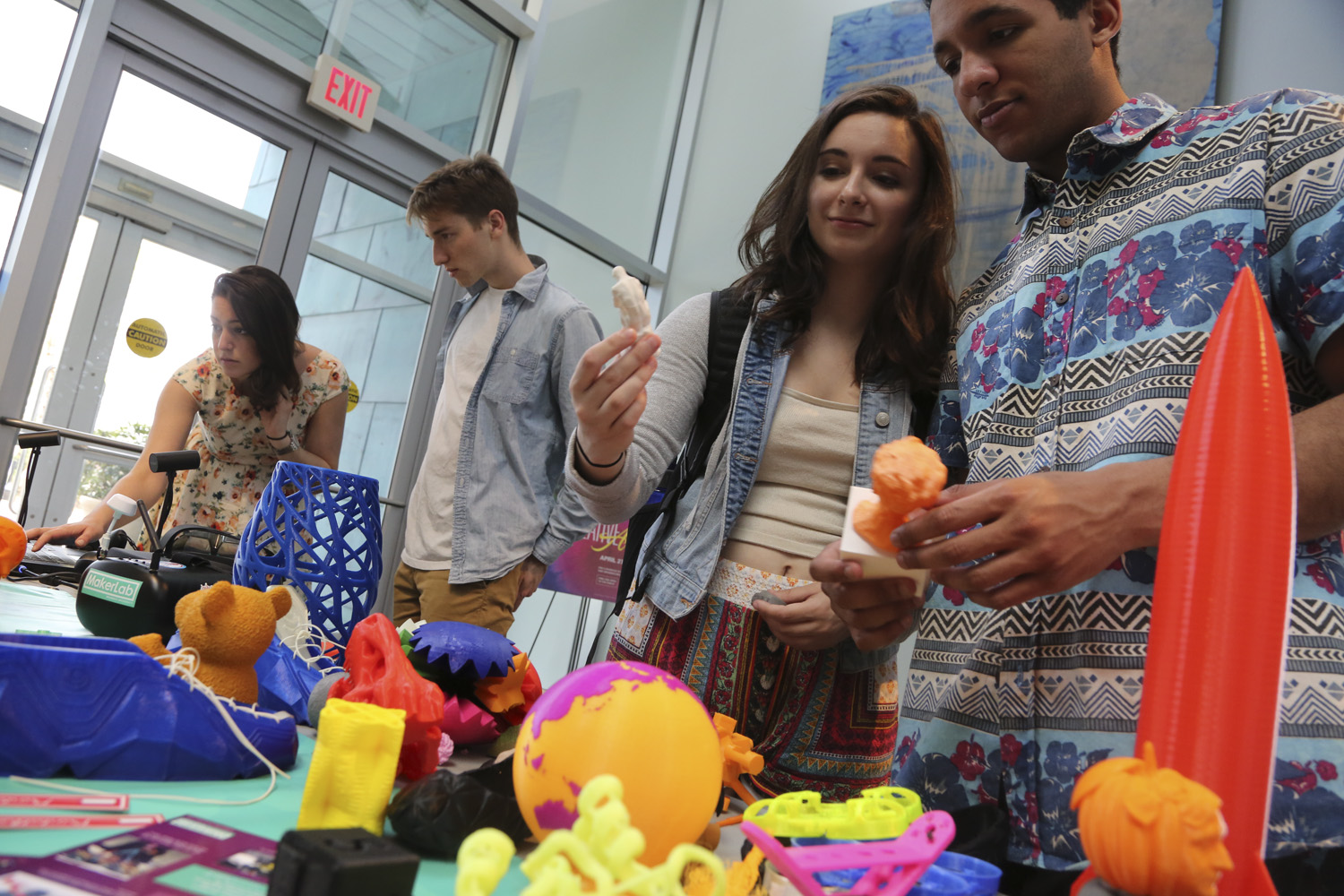 A 3D printing exhibit courtesy of the Brandeis MakerLab.