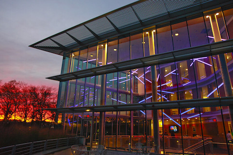 The Mandel Center at sundown.