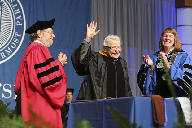 mildred dresselhaus accepts honorary degree at brandeis commencement