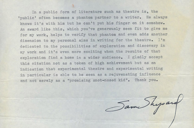 Contents of a letter from Sam Shepard to Brandeis University