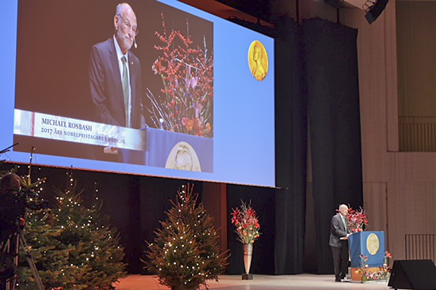 Michael Rosbash, the Peter Gruber Endowed Chair in Neuroscience and professor of biology, giving his lecture for the 2017 Nobel Prize in Physiology or Medicine.