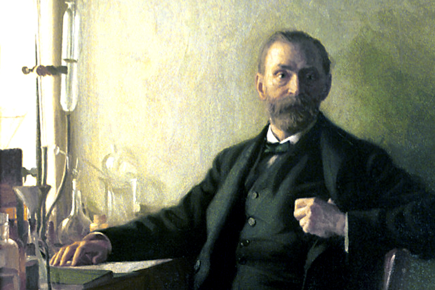 A painted portrait of Alfred Nobel, founder of the Nobel Prizes