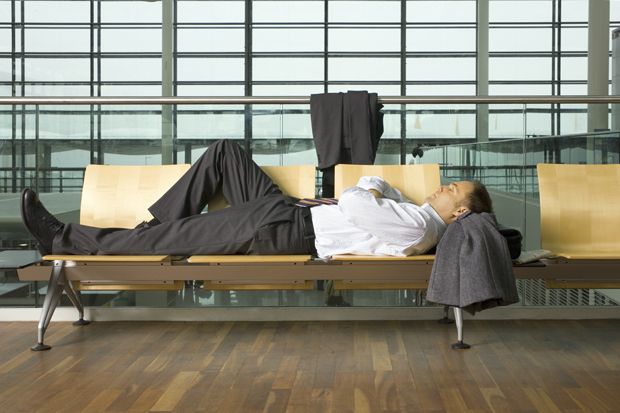 Man sleep in an airport