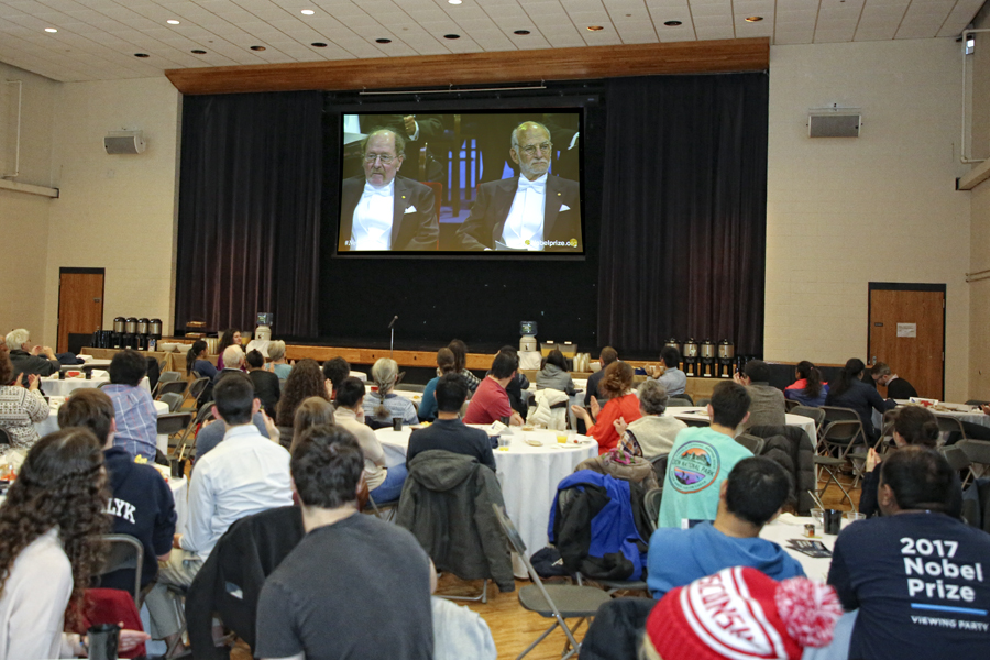 Brandeis students viewing the Nobel Ceremony during the on campus event