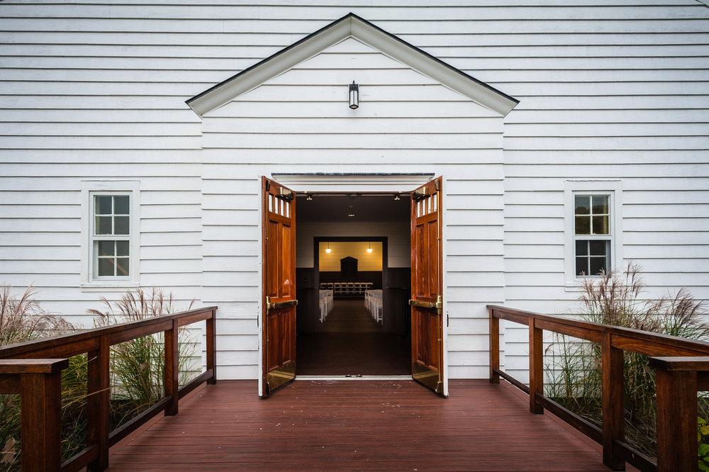 The entrance to the Peddocks Island chapel.