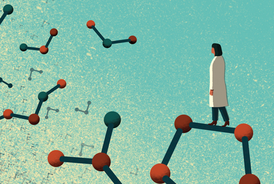 Illustration of a female scientist standing on a molecule