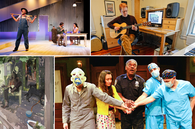 Four images: A scene from Bridges of Madison County; Eric Chasalow; a Susan Lichtman painting, and a scene from the play Bank Job