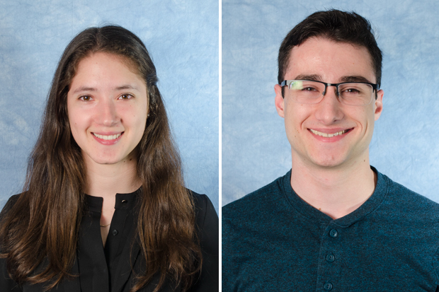 Lucy Miller-Suchet, left, and Michael Solowey, students who received World of Work scholarships in 2017.