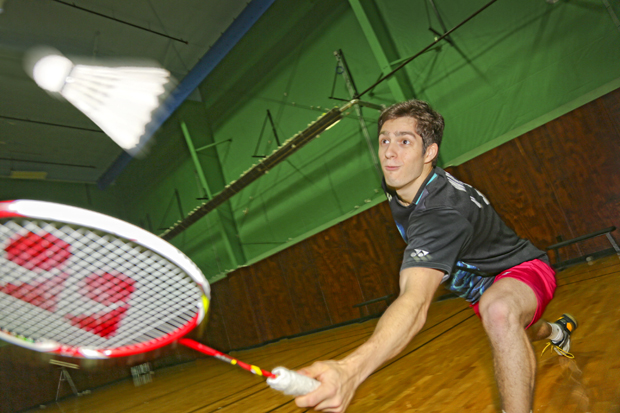 nicholas waller playing badminton