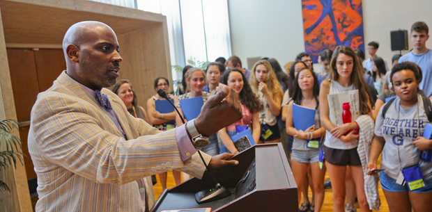 Dean of Students Jamele Adams speaks to a group of high school students in the summer of 2016