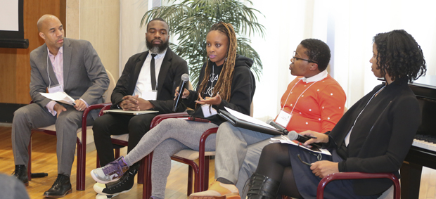 A panel discussion during the Black Lives Matter symposium in March 2017.