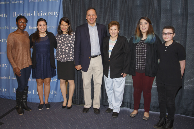 The 2017 Stroum Waltham Scholars with Brandeis President Ron Liebowitz and his wife Jessica Liebowitz