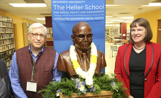 lisa lynch, larry simon, and bust of dr. ambedkar