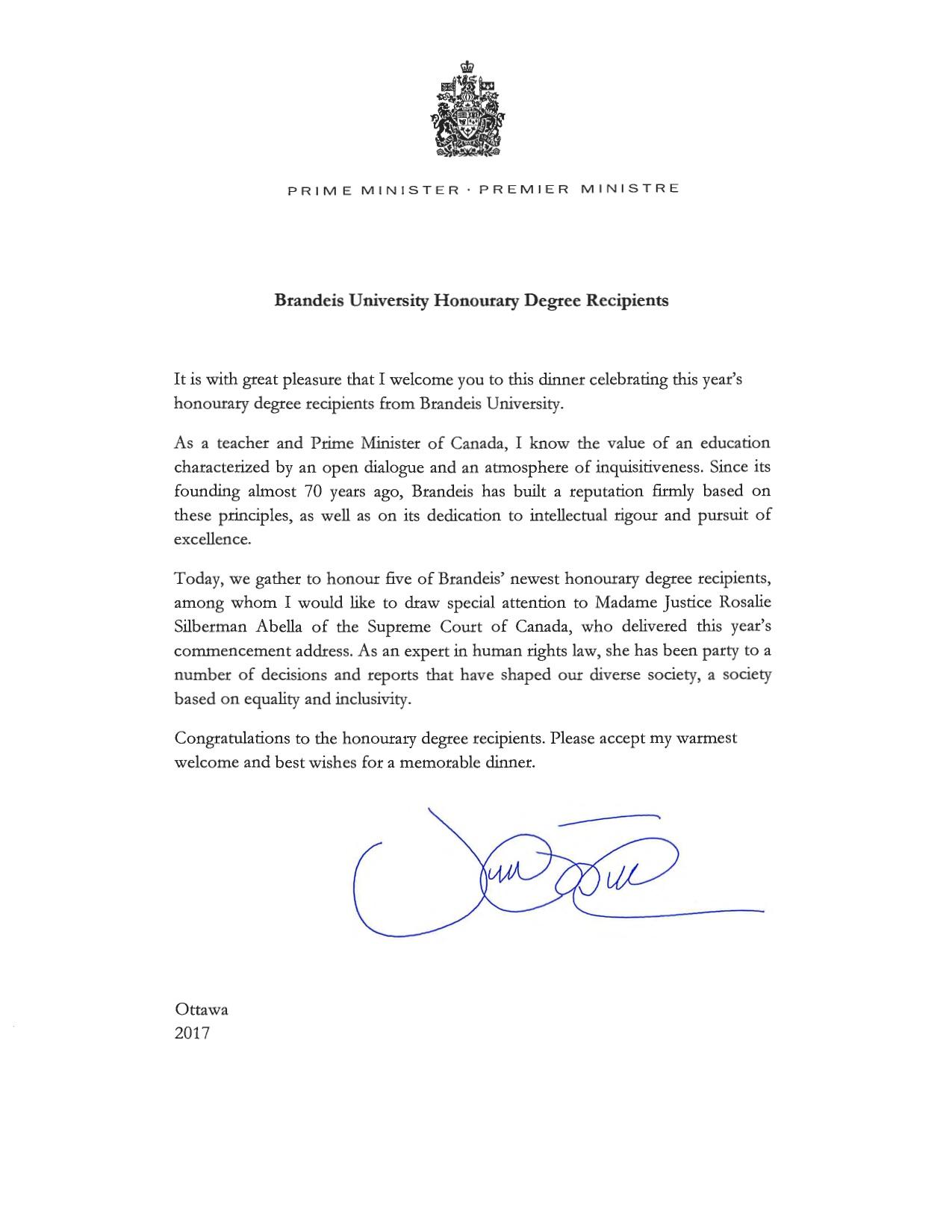 Address Prime Minister Canada Letter
