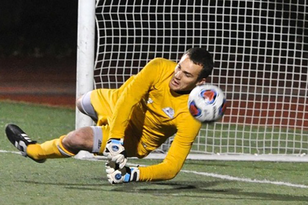ben woodhouse making a save for brandeis
