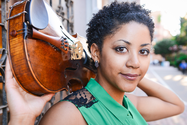 Ashleigh Gordon poses with her viola behind her head