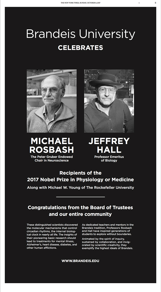 In the New York Times Brandeis University celebrates a Nobel Prize to professors Michael Rosbash and Jeffrey Hall