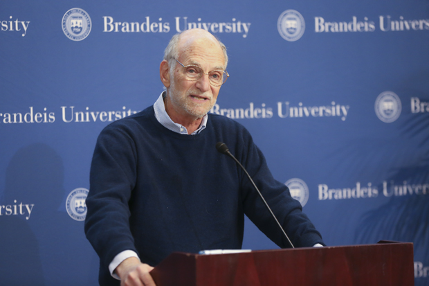 Michael Rosbash celebrating with Brandeis community members