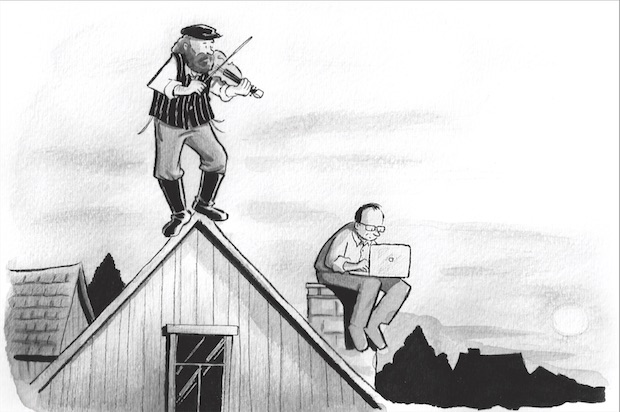 A caricature of 'Fiddler on the roof,' but with a modern-day man staring at a laptop also on the roof.