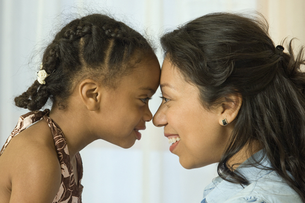 stock photo of child and woman