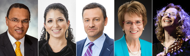 From left to right: Freeman Hrabowski III, Shira Ruderman, Jay Ruderman, Mary Sue Coleman and Chava Alberstein will receive honorary degrees at Brandeis University's 67th Commencement on May 13 2018