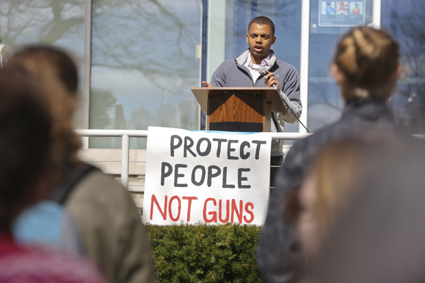 Students speak and listen at a rally for gun control on April 20, 2018, the 19th anniversary of the Colombine shootings.